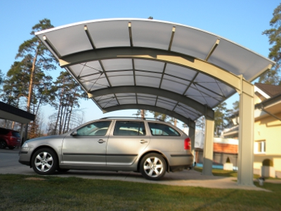 Carport CarShell Stahlprofilen, Bedachung aus Multy Wall Polycarbonat